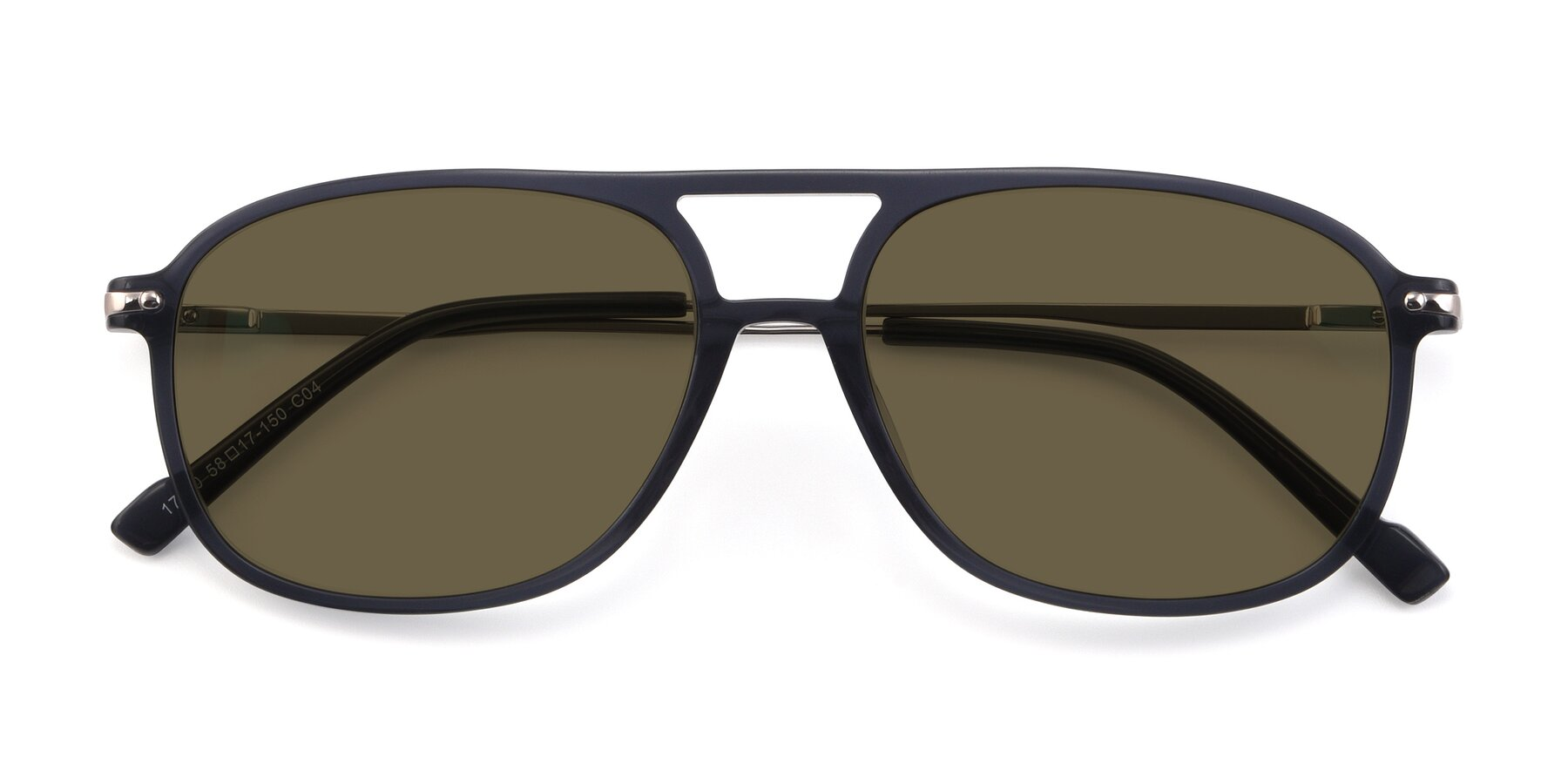 Folded Front of 17580 in Dark Bluish Gray with Brown Polarized Lenses