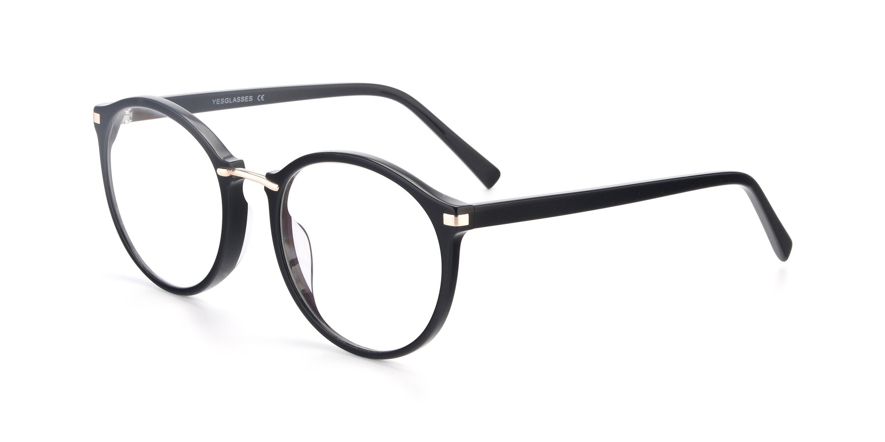 Angle of Casper in Black with Clear Eyeglass Lenses