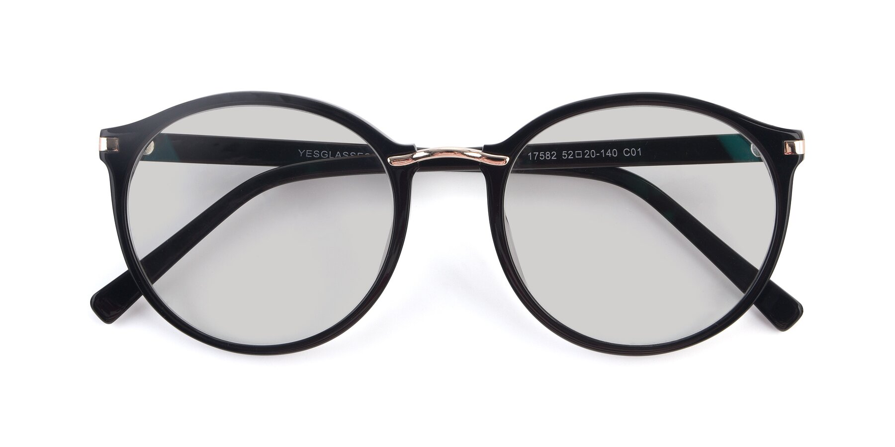 Folded Front of 17582 in Black with Light Gray Tinted Lenses