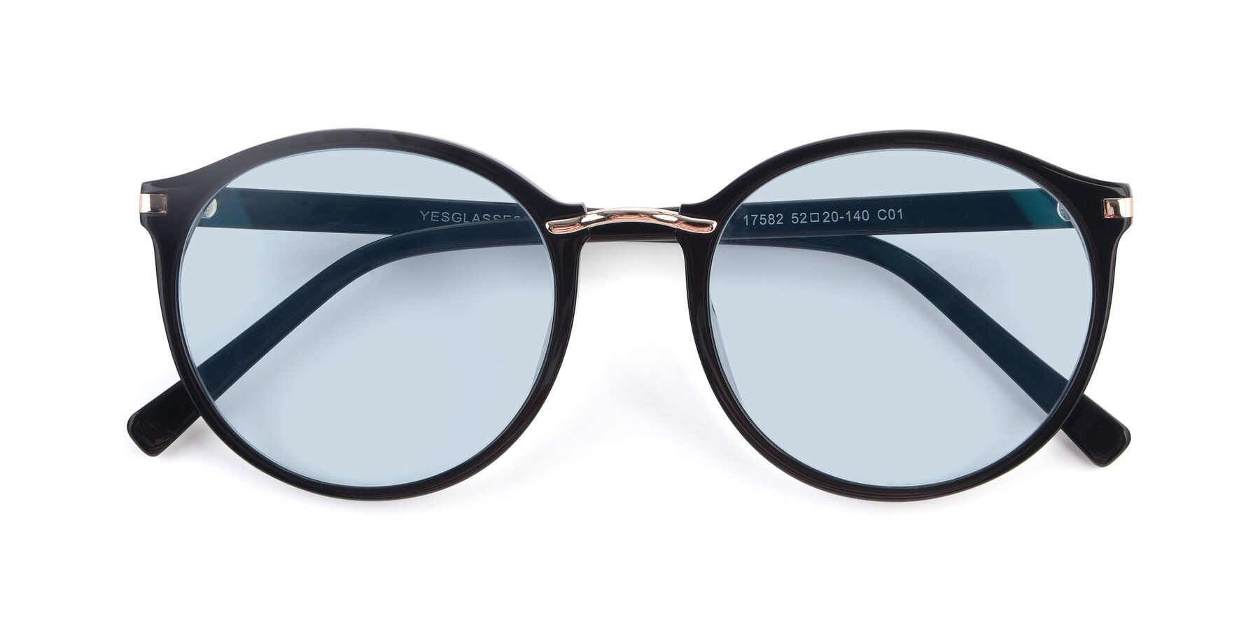 Folded Front of 17582 in Black with Light Blue Tinted Lenses