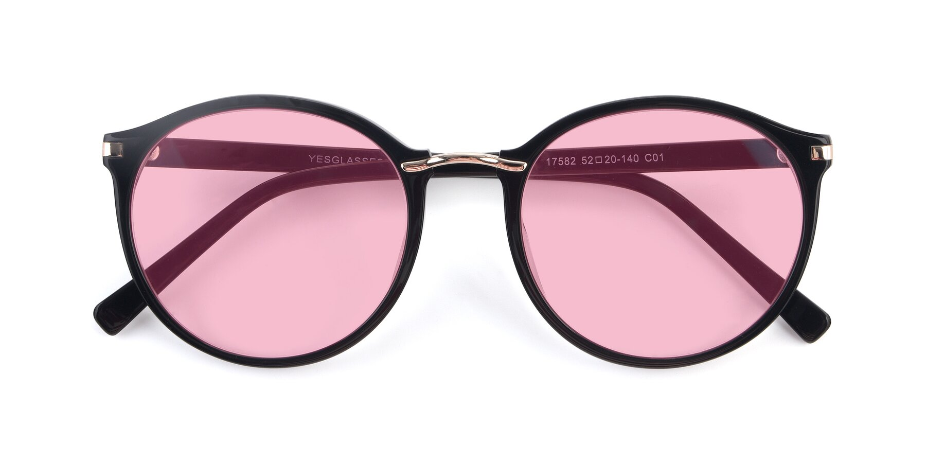 Folded Front of 17582 in Black with Medium Pink Tinted Lenses