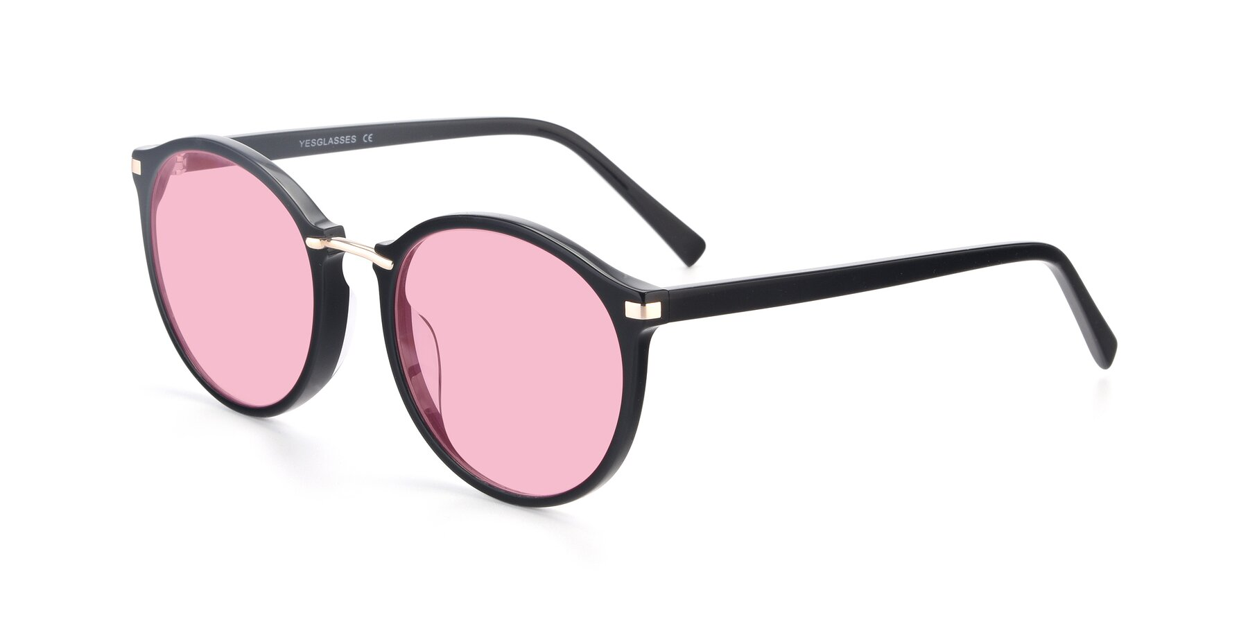 Angle of 17582 in Black with Medium Pink Tinted Lenses
