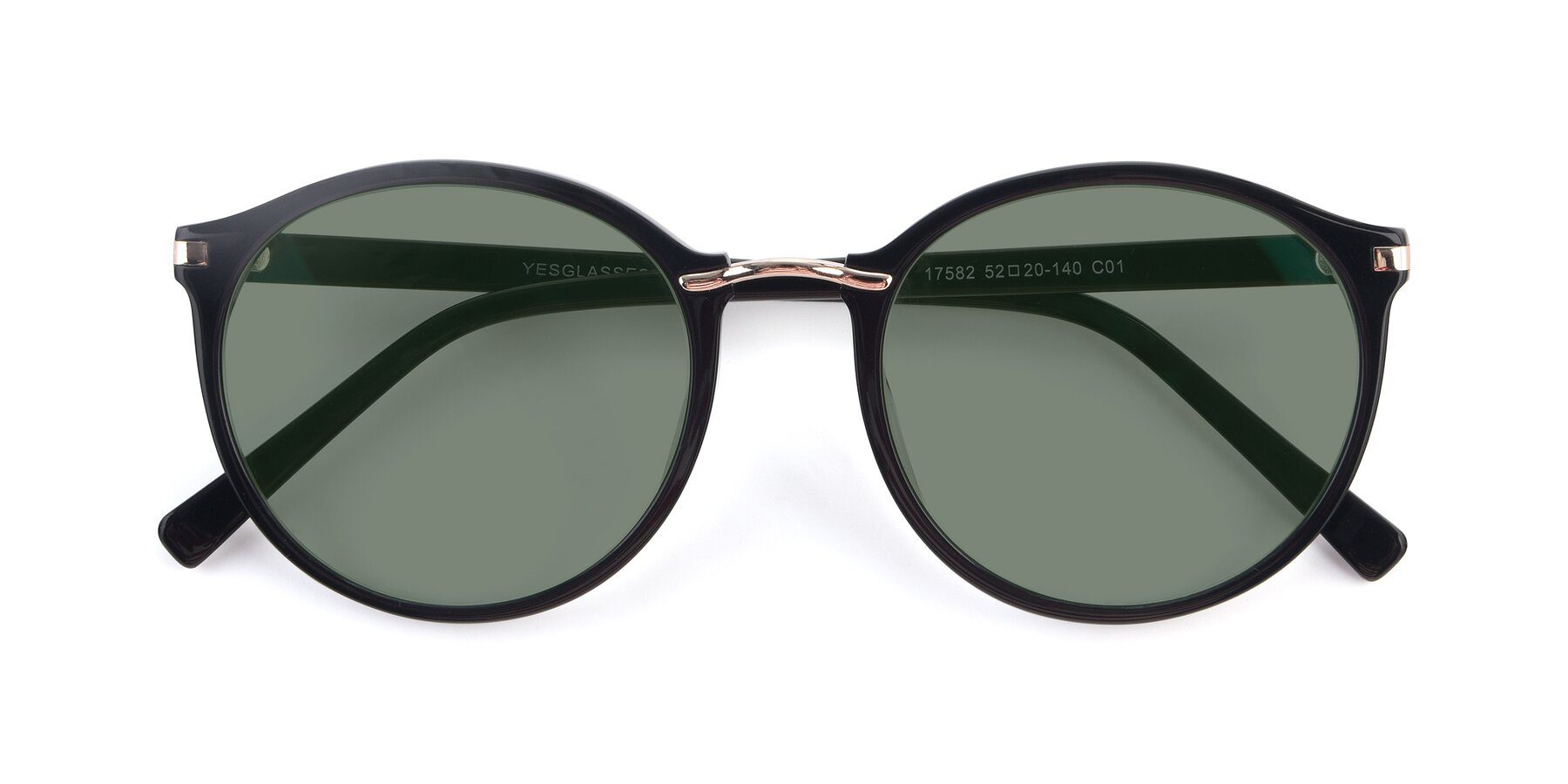 Folded Front of 17582 in Black with Medium Green Tinted Lenses