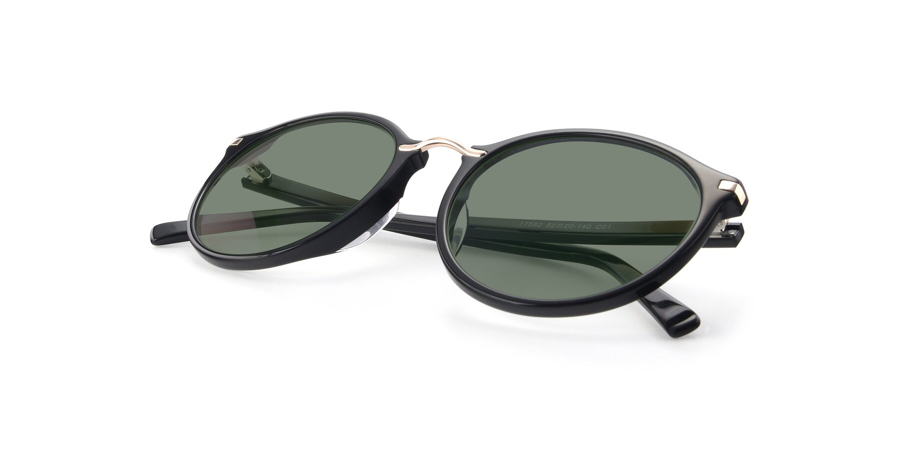 View of 17582 in Black with Medium Green Tinted Lenses