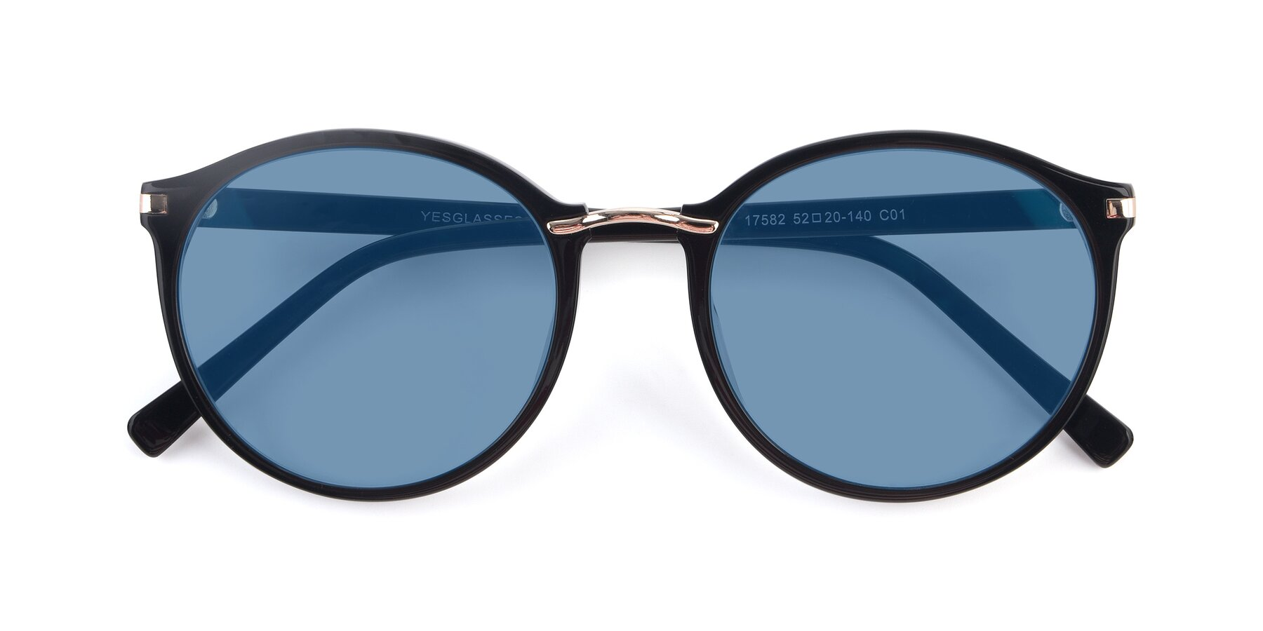 Folded Front of 17582 in Black with Medium Blue Tinted Lenses