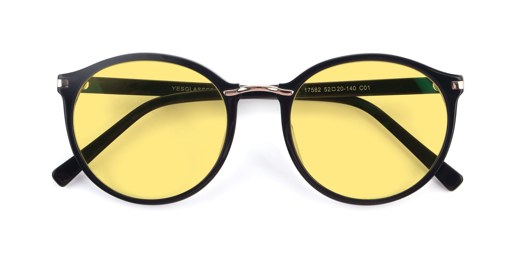 Folded Front of 17582 in Black with Medium Yellow Tinted Lenses