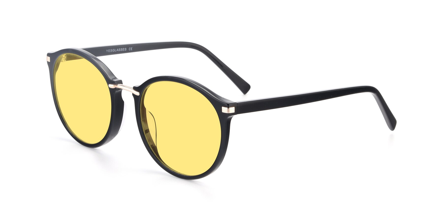 Angle of 17582 in Black with Medium Yellow Tinted Lenses