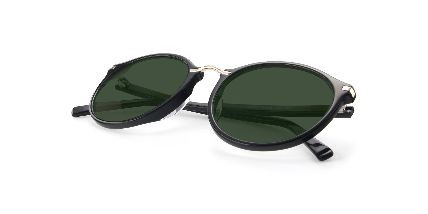 View of 17582 in Black with Green Tinted Lenses