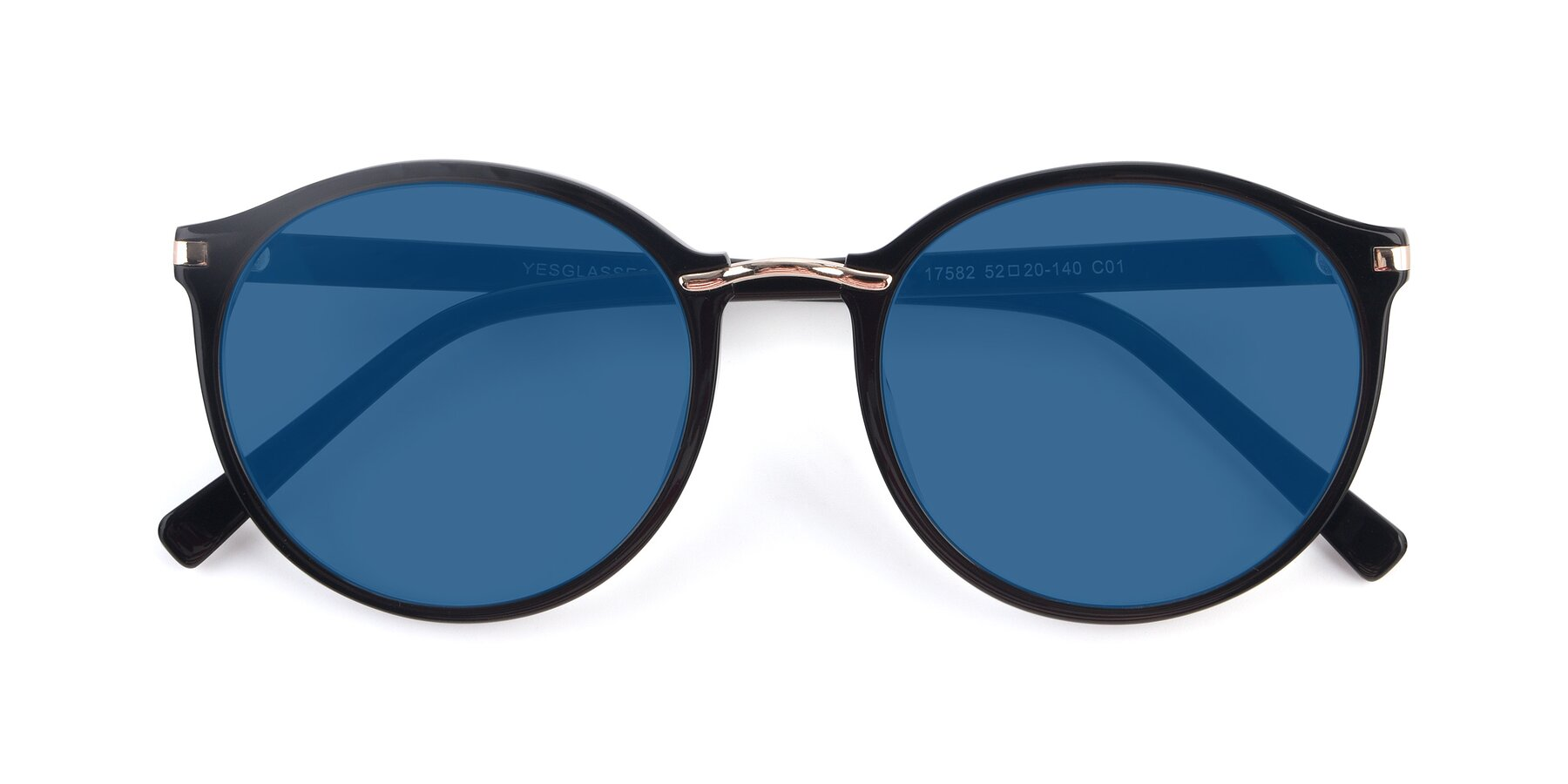Folded Front of 17582 in Black with Blue Tinted Lenses