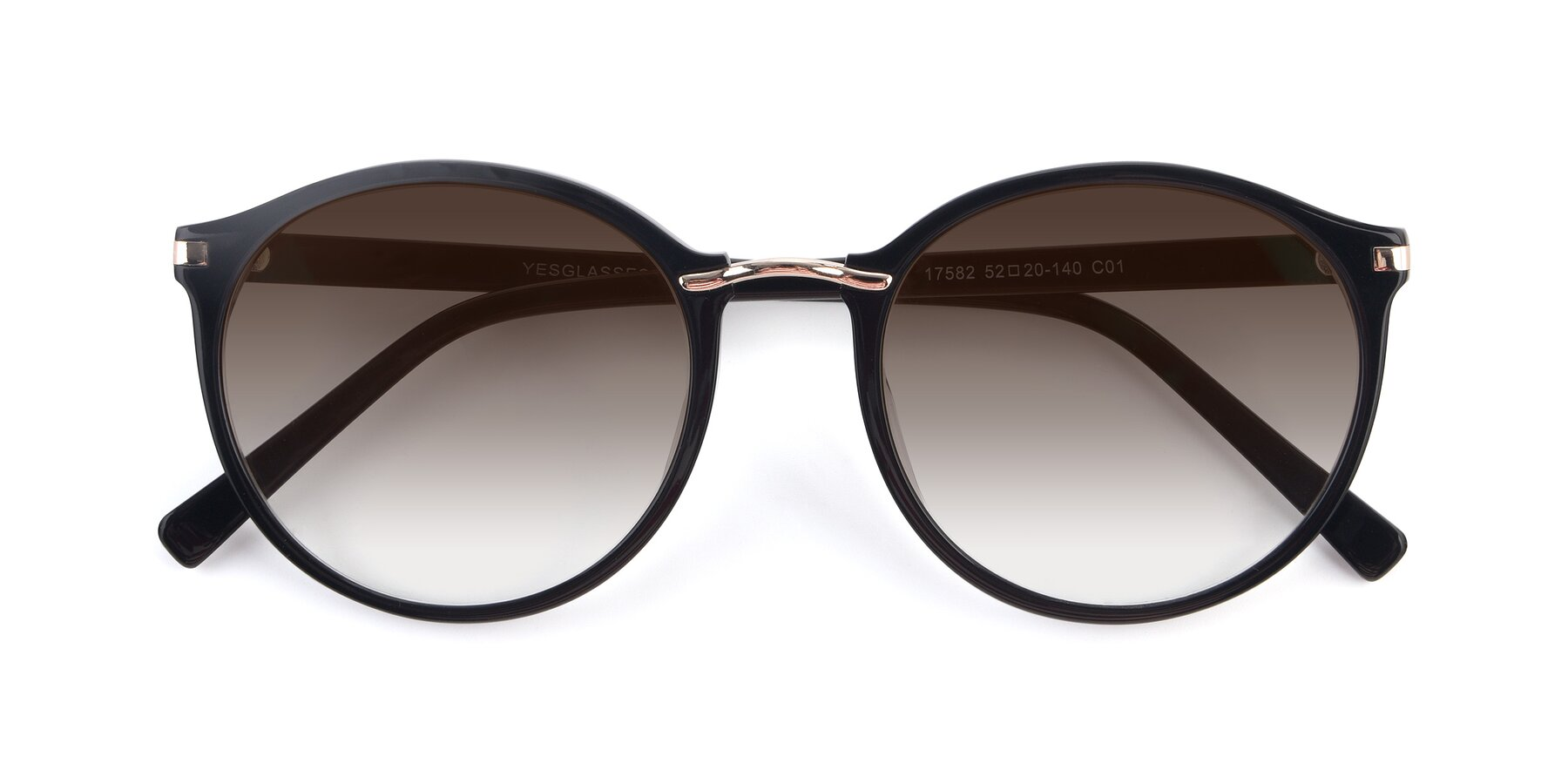 Folded Front of Casper in Black with Brown Gradient Lenses