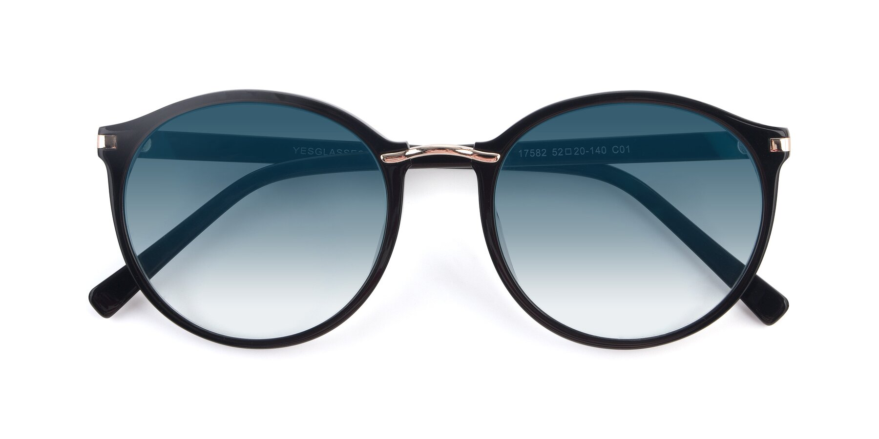 Folded Front of 17582 in Black with Blue Gradient Lenses