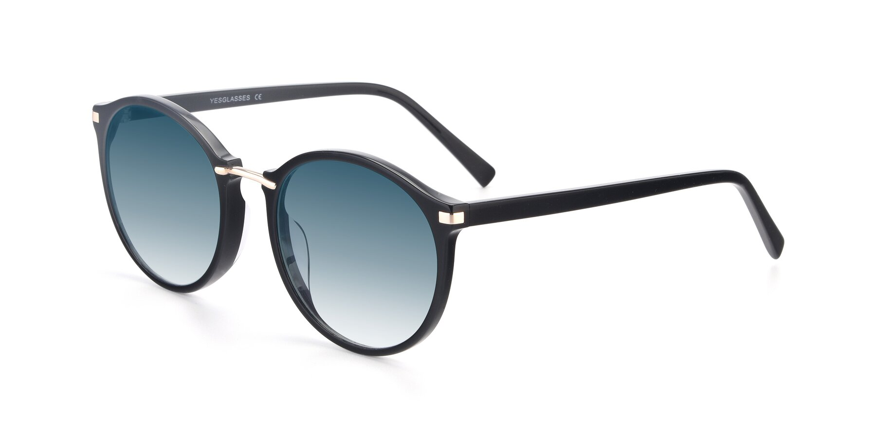 Angle of 17582 in Black with Blue Gradient Lenses