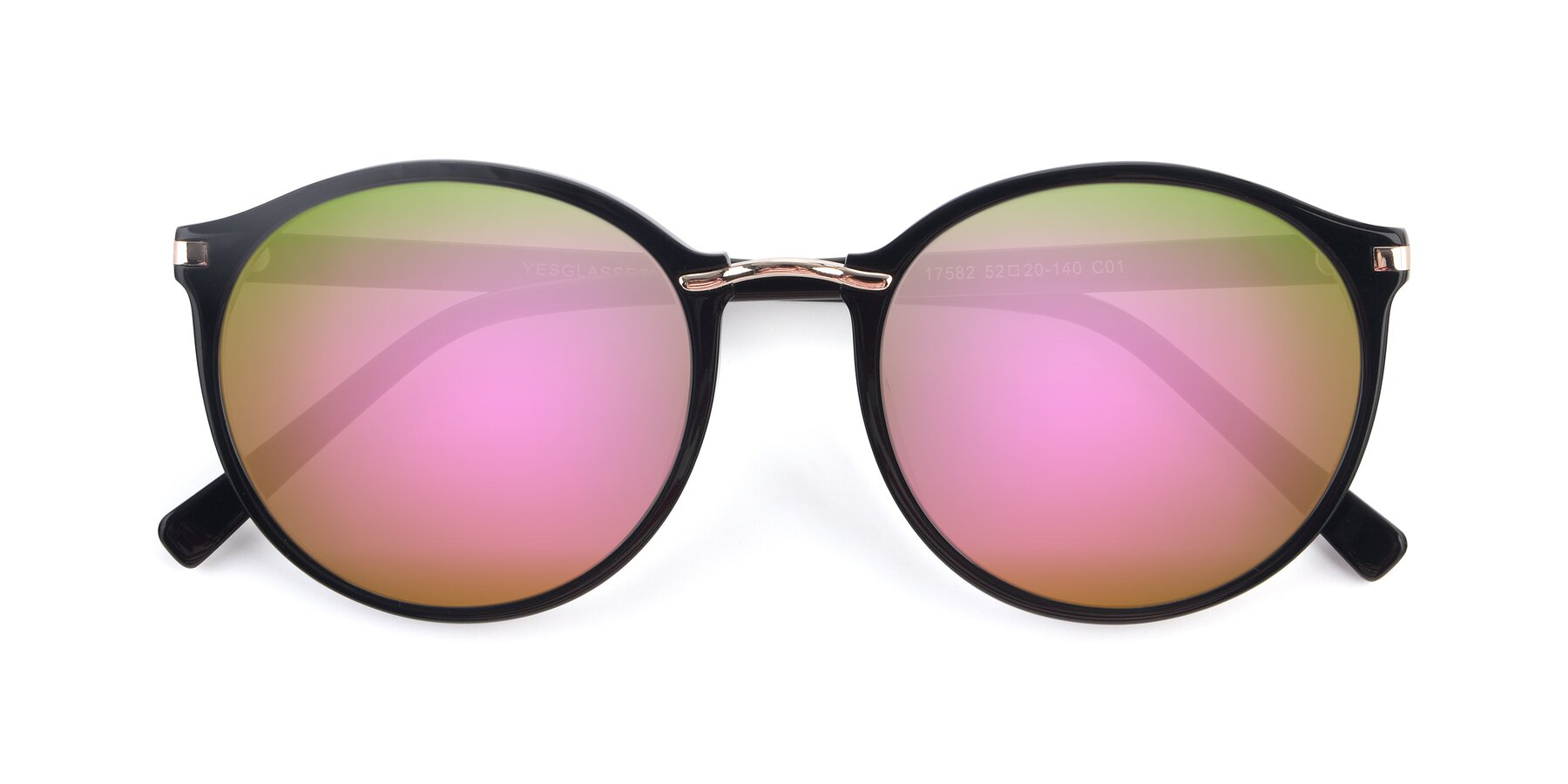 Folded Front of 17582 in Black with Pink Mirrored Lenses