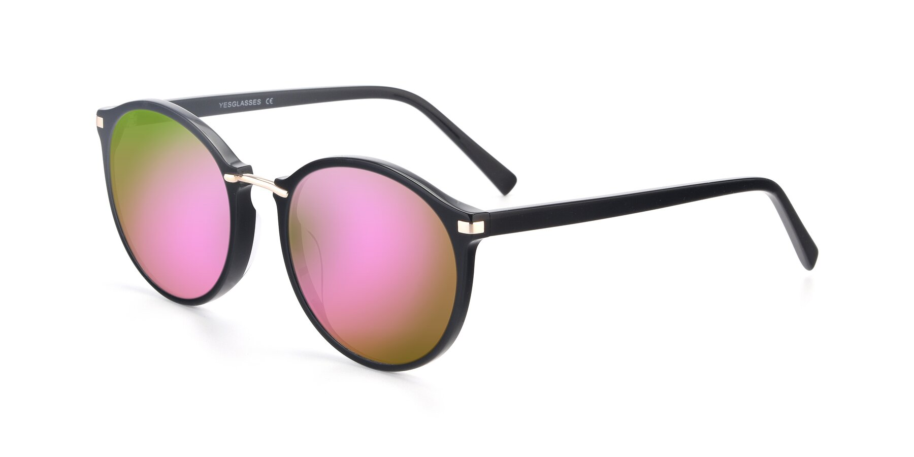 Angle of 17582 in Black with Pink Mirrored Lenses