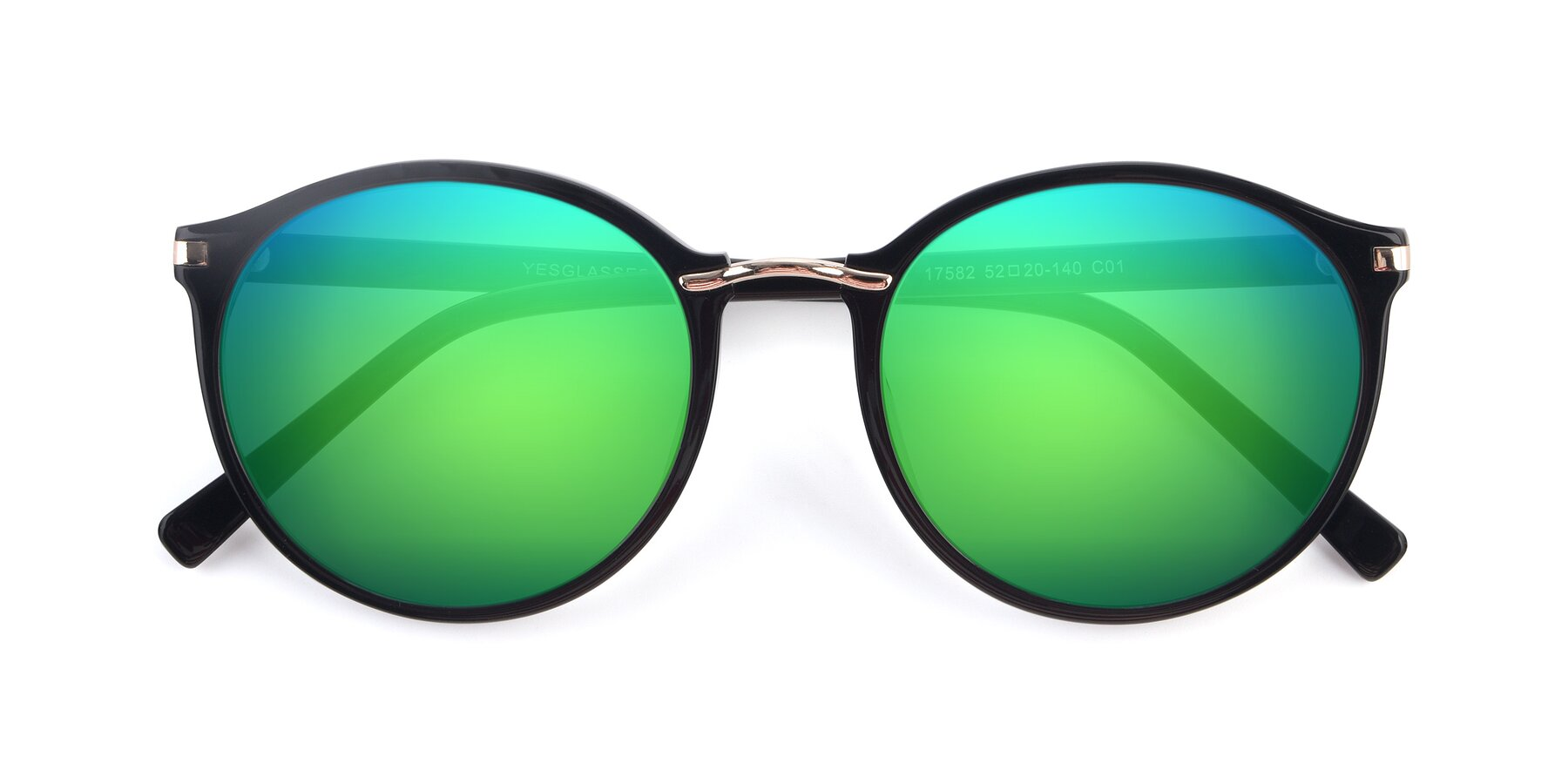 Folded Front of 17582 in Black with Green Mirrored Lenses