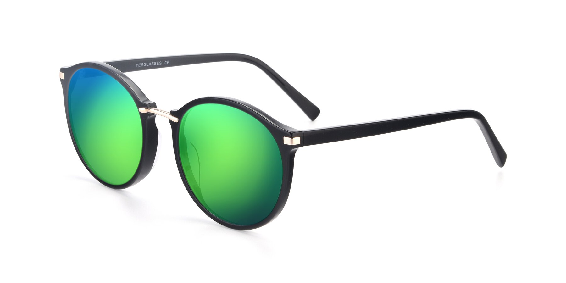 Angle of 17582 in Black with Green Mirrored Lenses