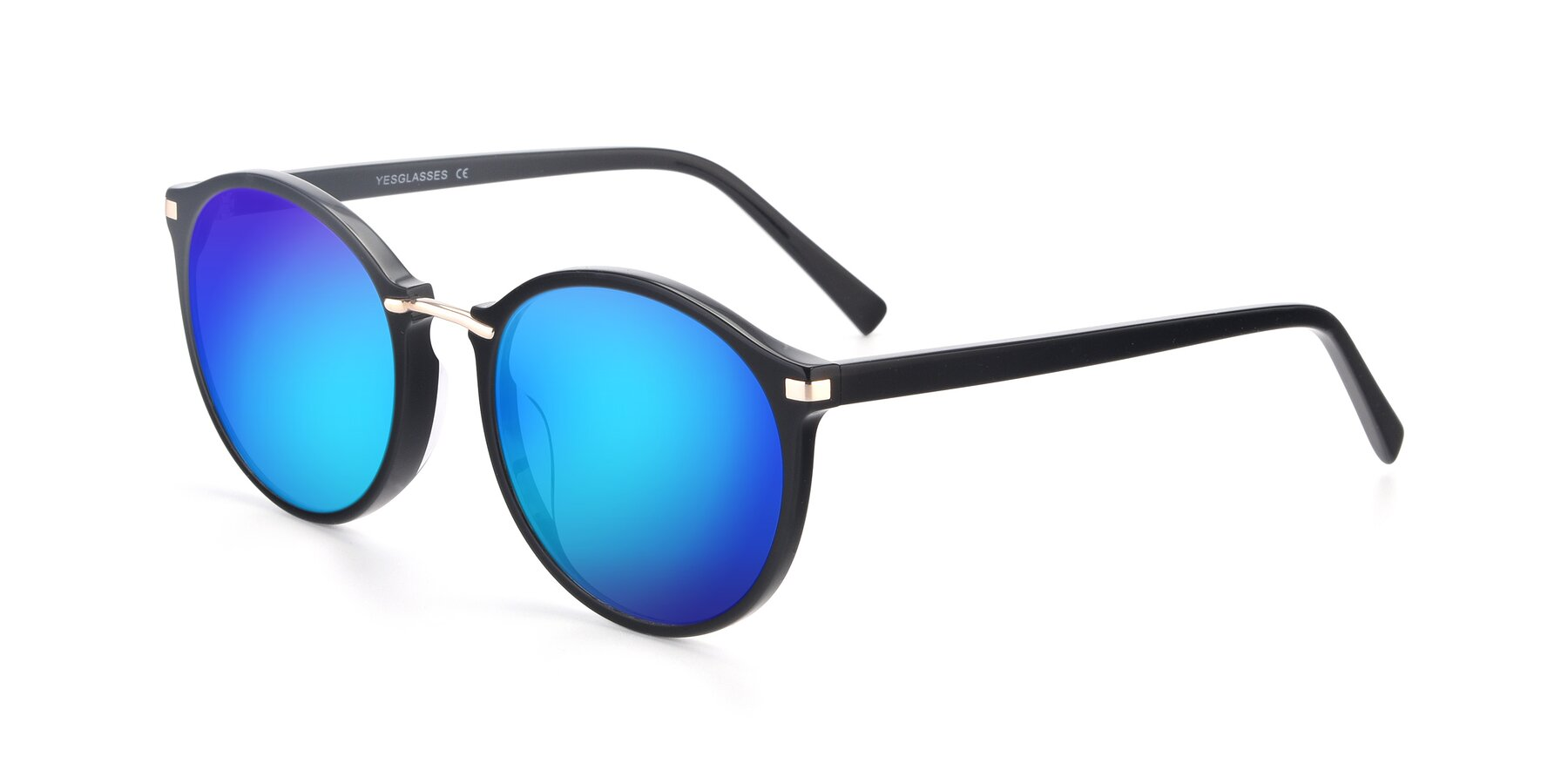 Angle of 17582 in Black with Blue Mirrored Lenses