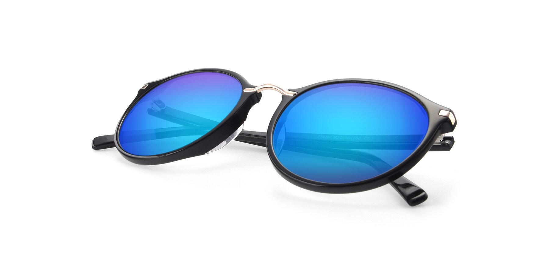 View of 17582 in Black with Blue Mirrored Lenses