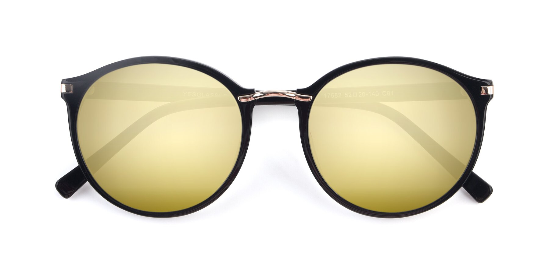 Folded Front of 17582 in Black with Gold Mirrored Lenses
