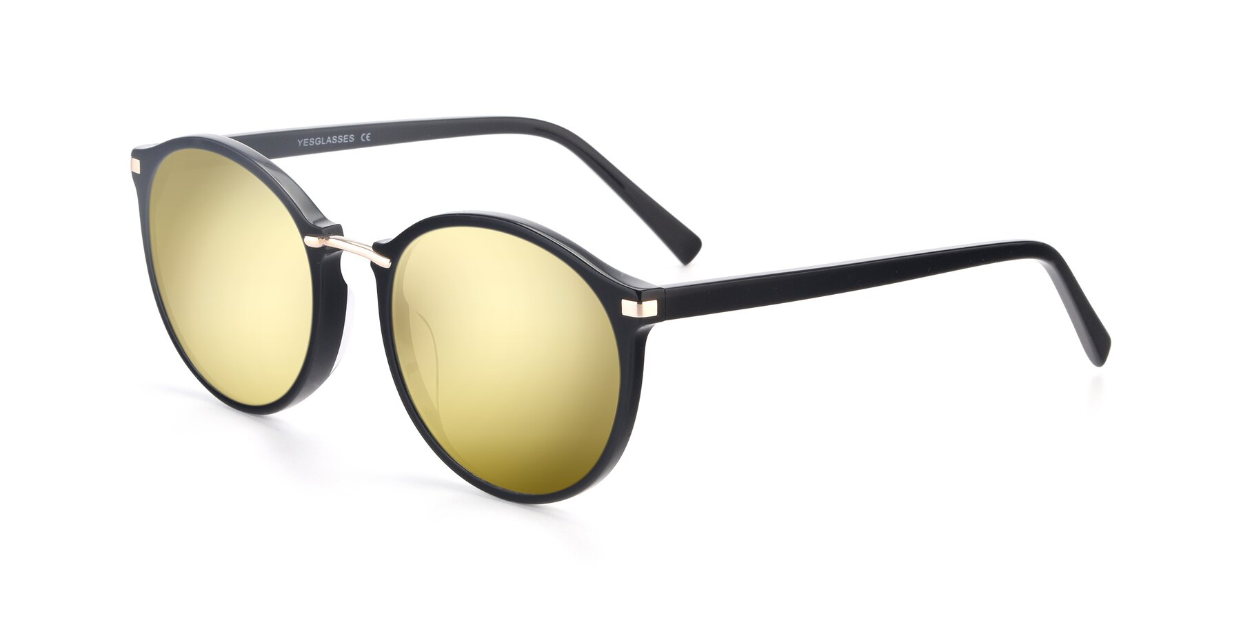 Angle of 17582 in Black with Gold Mirrored Lenses