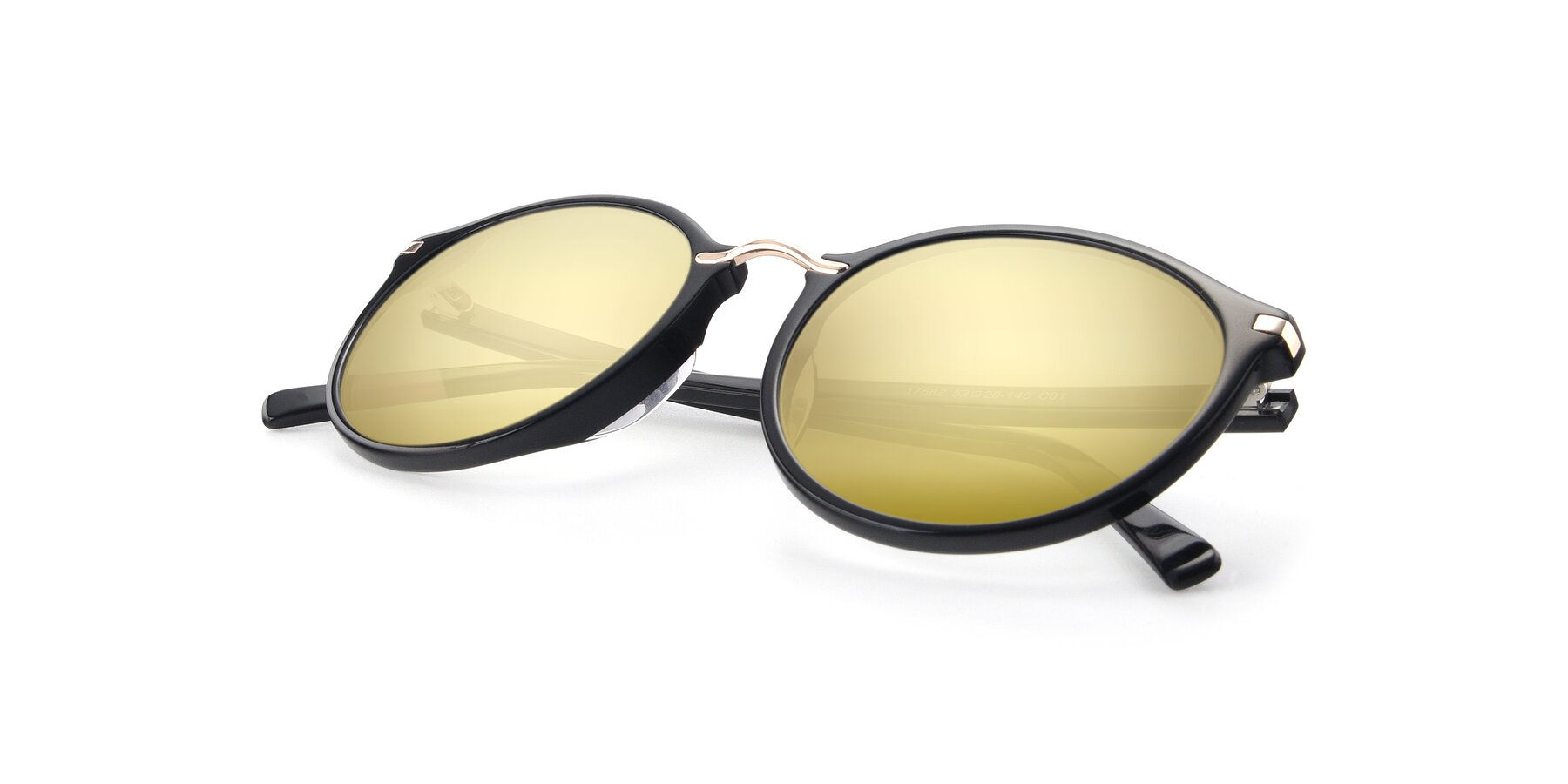 View of 17582 in Black with Gold Mirrored Lenses