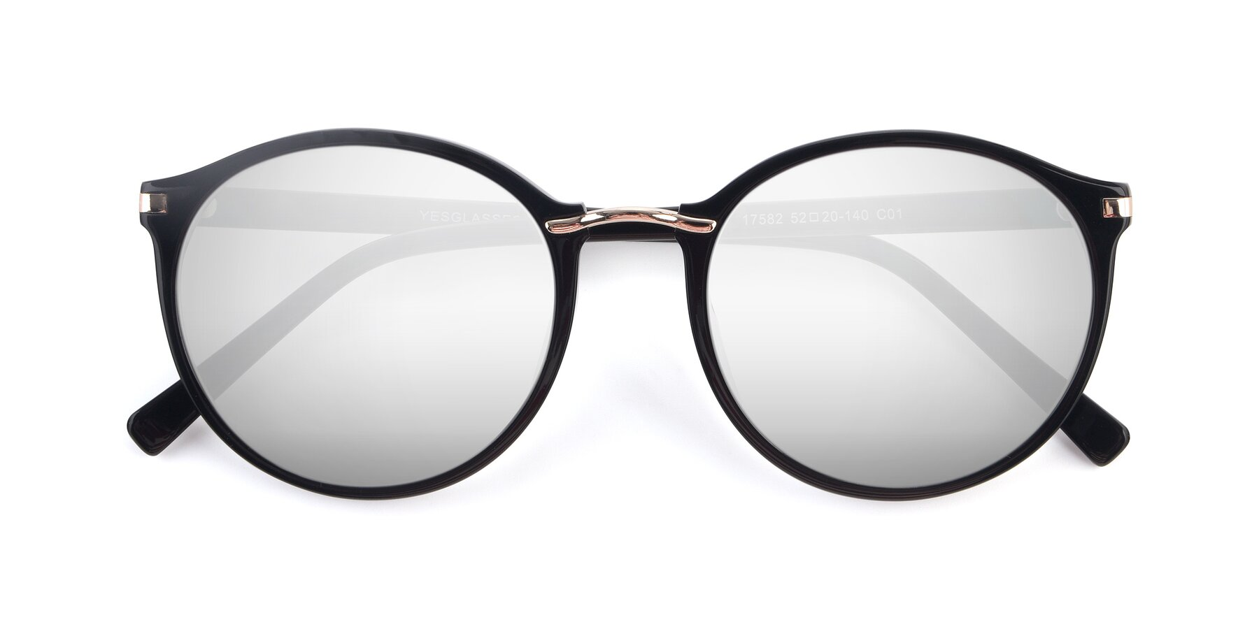Folded Front of 17582 in Black with Silver Mirrored Lenses