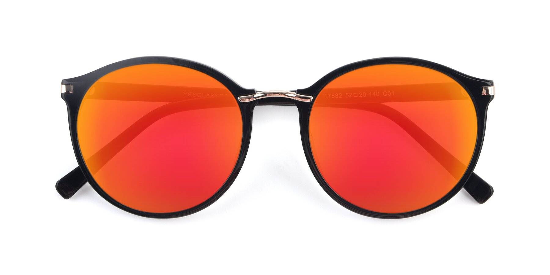 Folded Front of 17582 in Black with Red Gold Mirrored Lenses