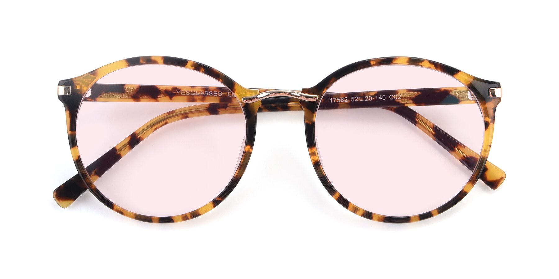 Folded Front of 17582 in Tortoise with Light Pink Tinted Lenses