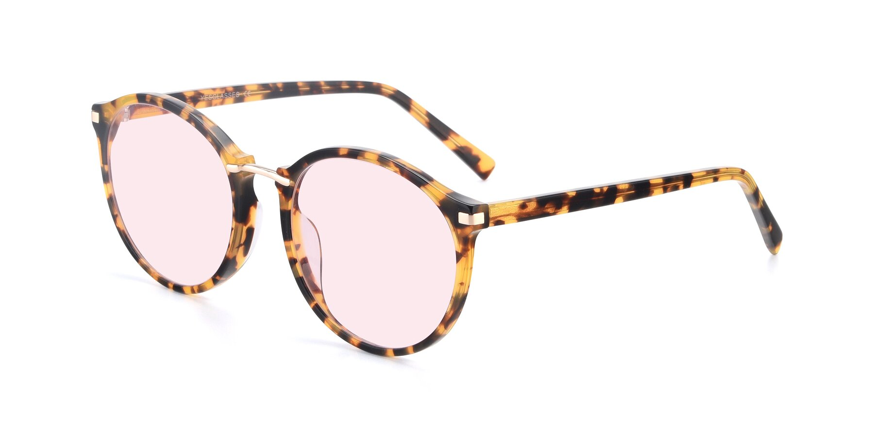Angle of Casper in Tortoise with Light Pink Tinted Lenses