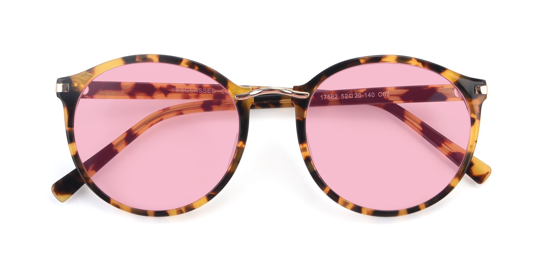 Folded Front of 17582 in Tortoise with Medium Pink Tinted Lenses