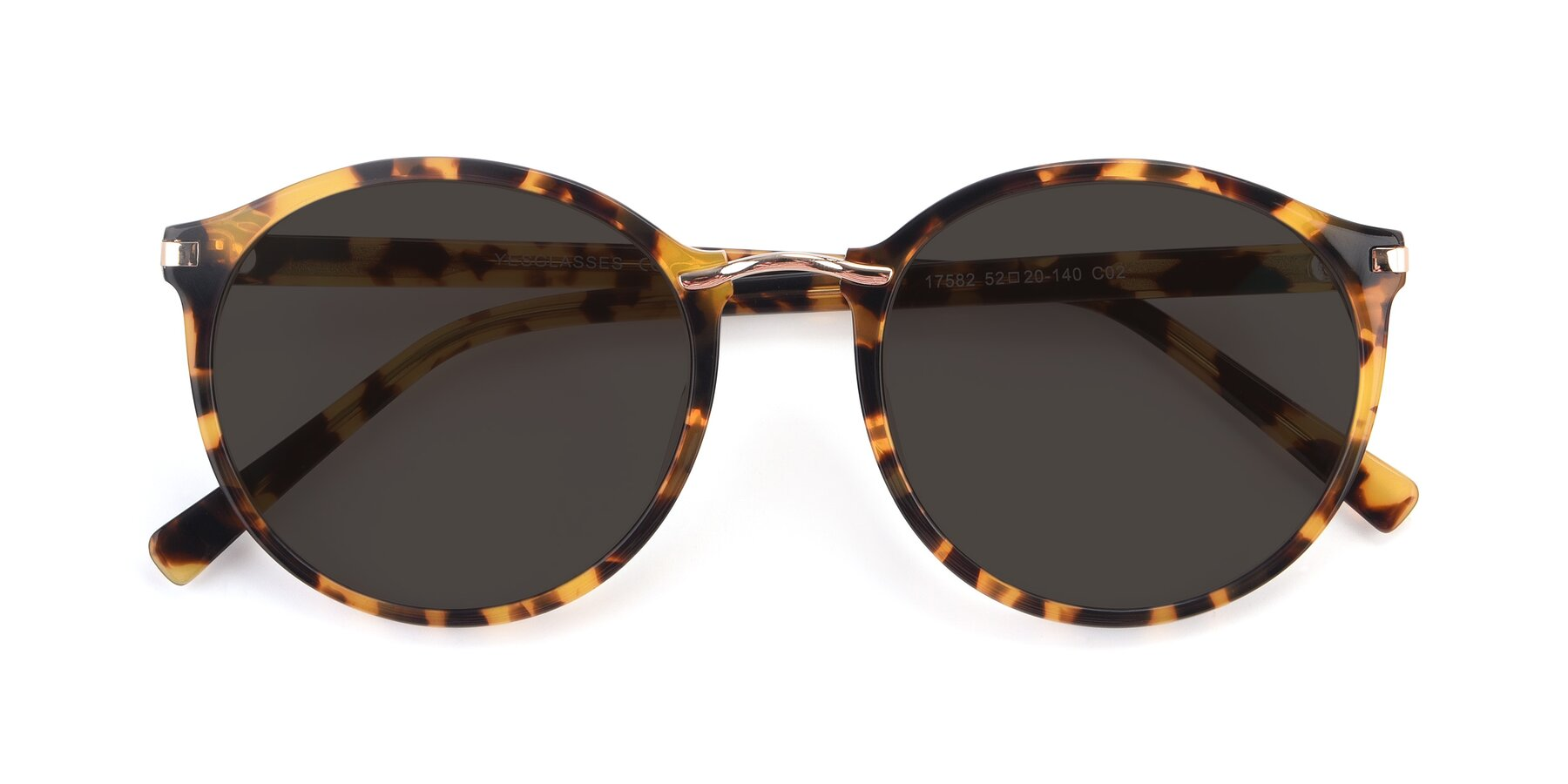 Folded Front of 17582 in Tortoise with Gray Tinted Lenses