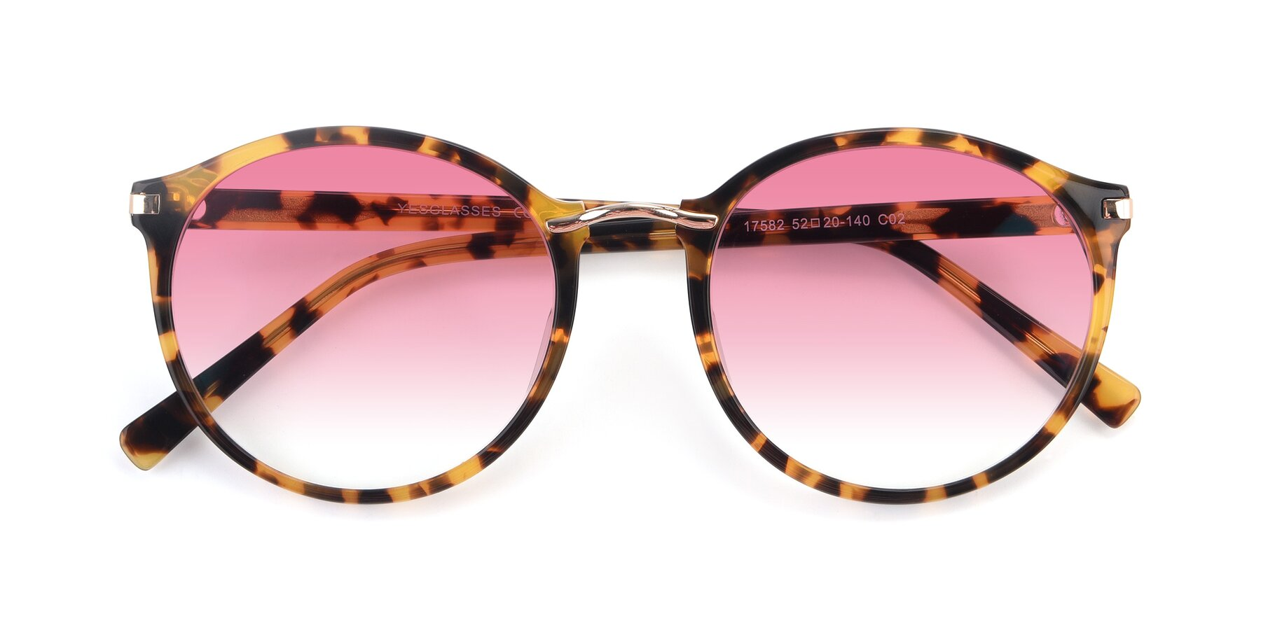 Folded Front of 17582 in Tortoise with Pink Gradient Lenses