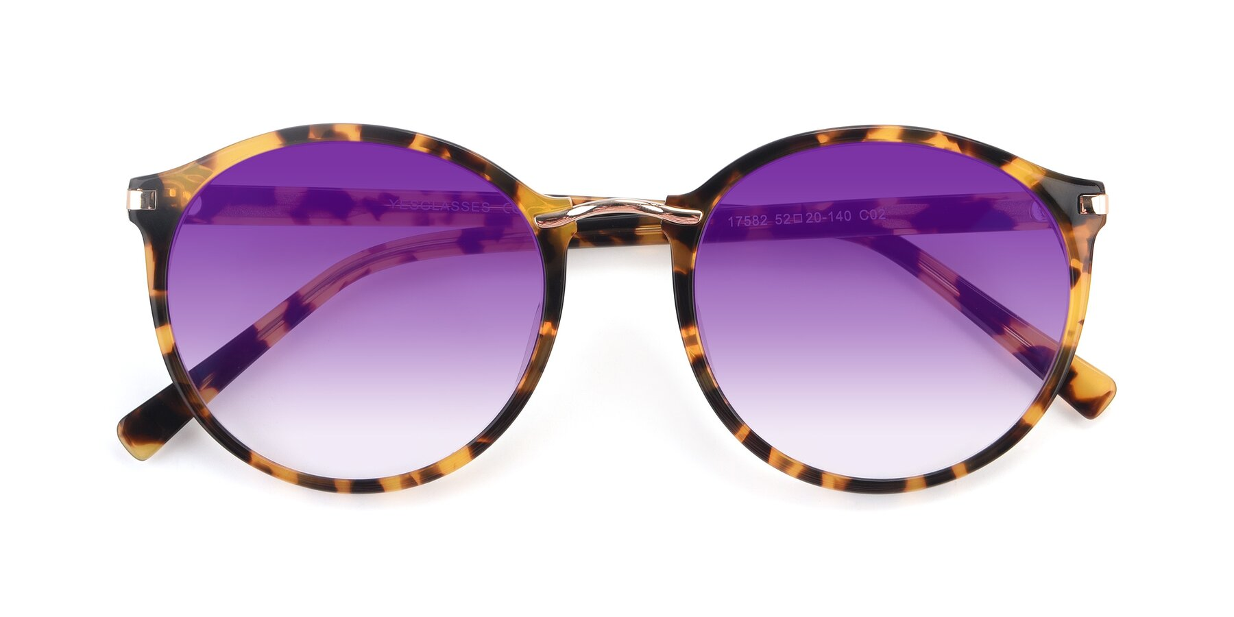 Folded Front of 17582 in Tortoise with Purple Gradient Lenses
