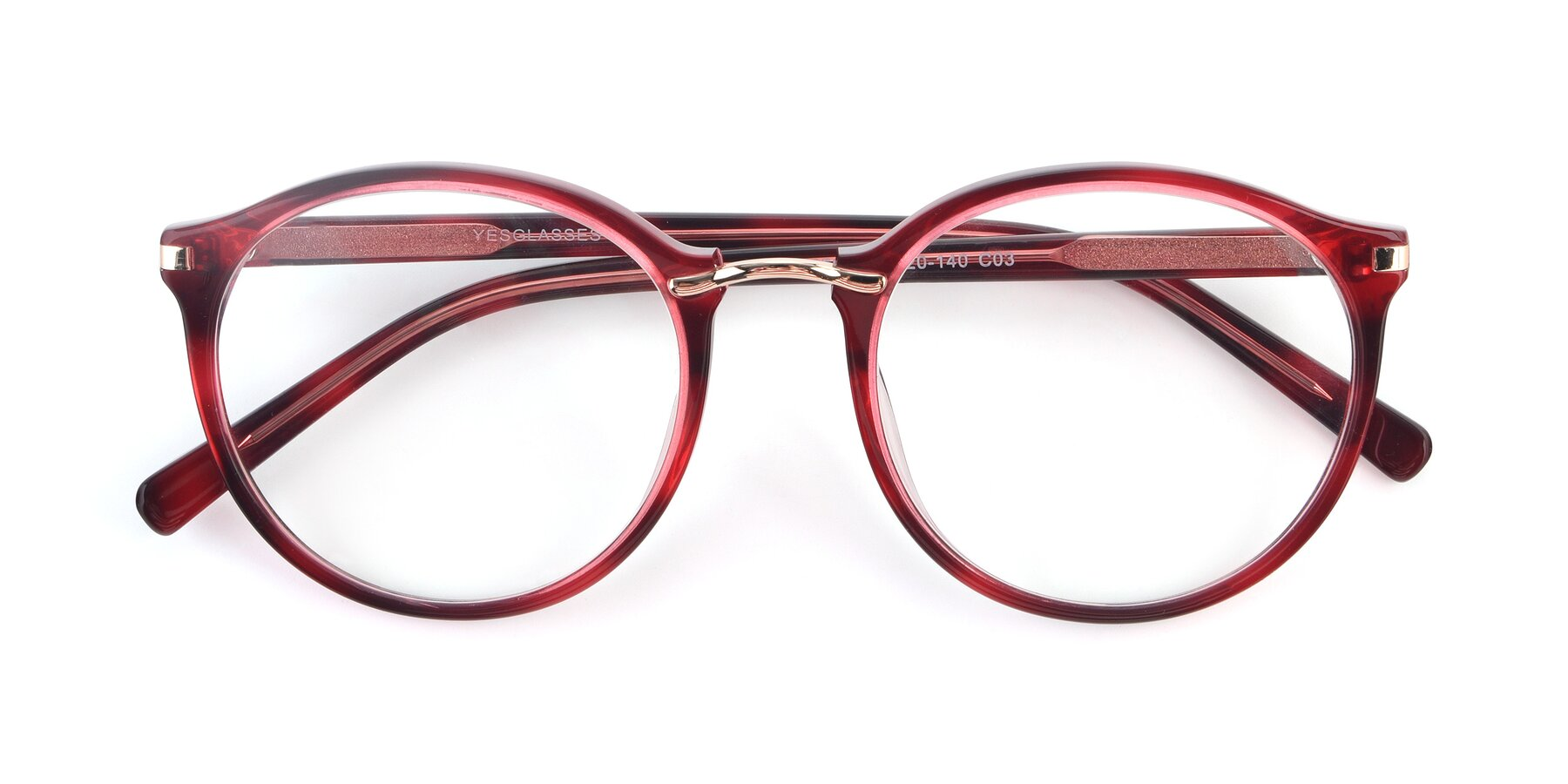 Folded Front of Casper in Wine with Clear Eyeglass Lenses
