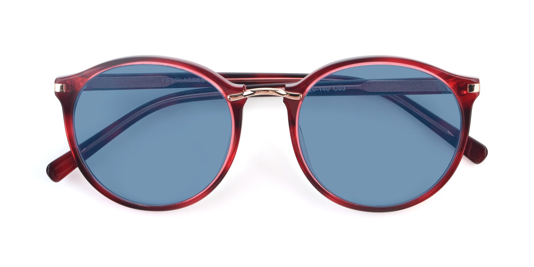 Folded Front of 17582 in Wine with Medium Blue Tinted Lenses