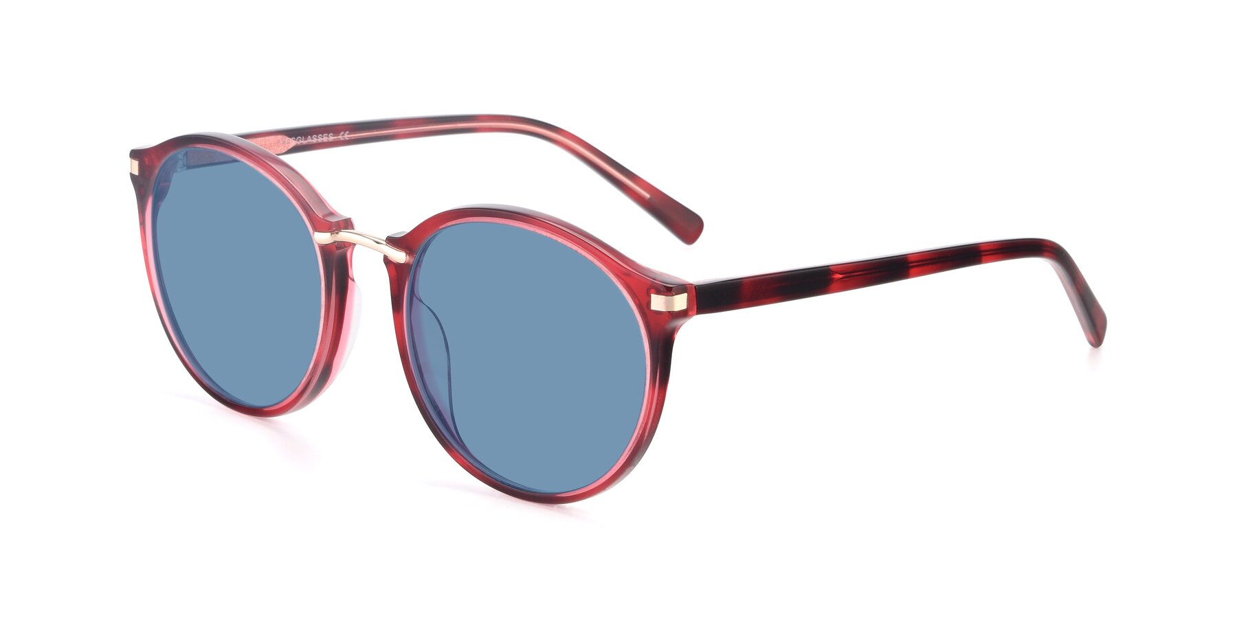 Angle of 17582 in Wine with Medium Blue Tinted Lenses