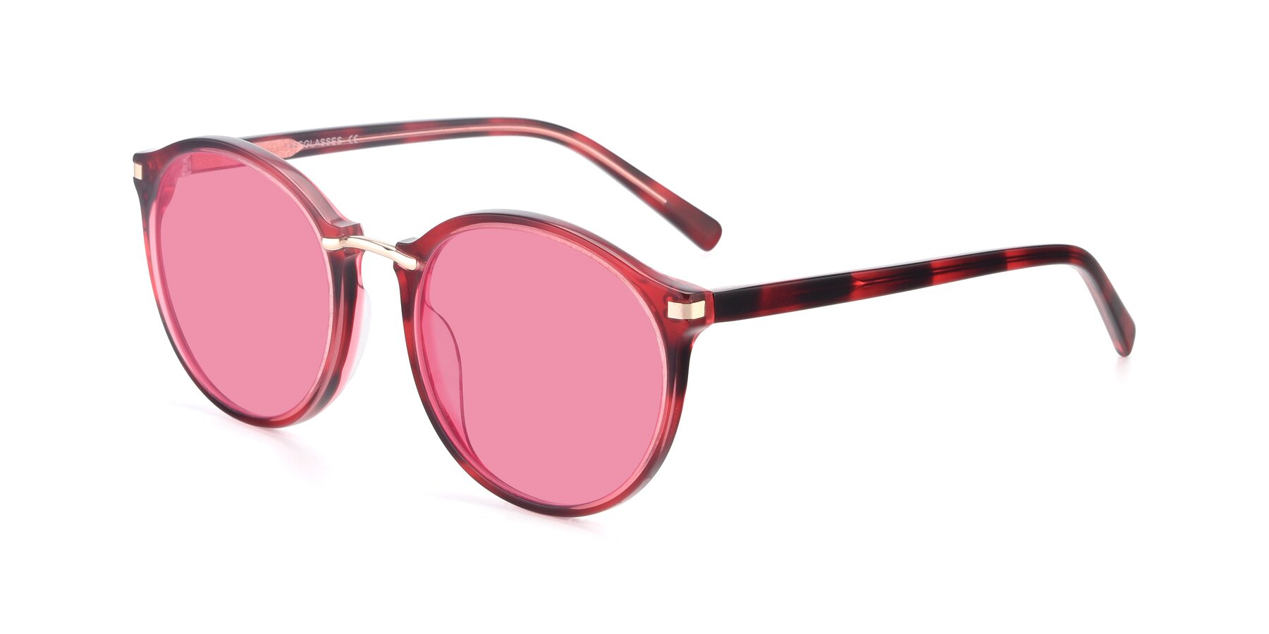 Angle of 17582 in Wine with Pink Tinted Lenses