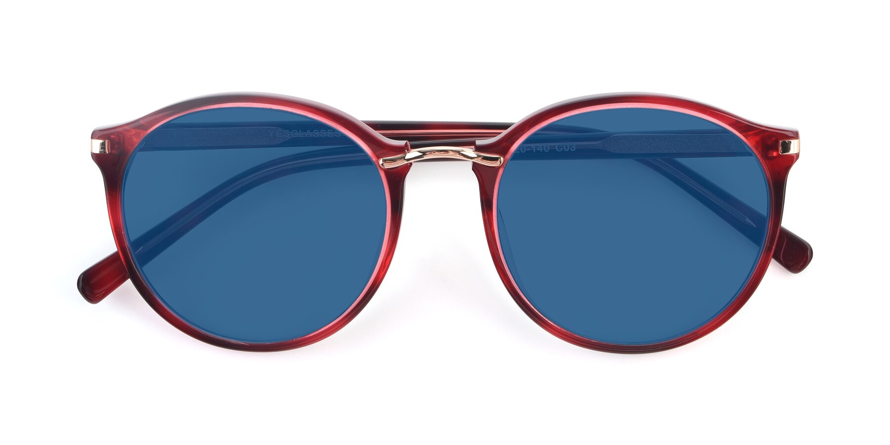 Folded Front of 17582 in Wine with Blue Tinted Lenses
