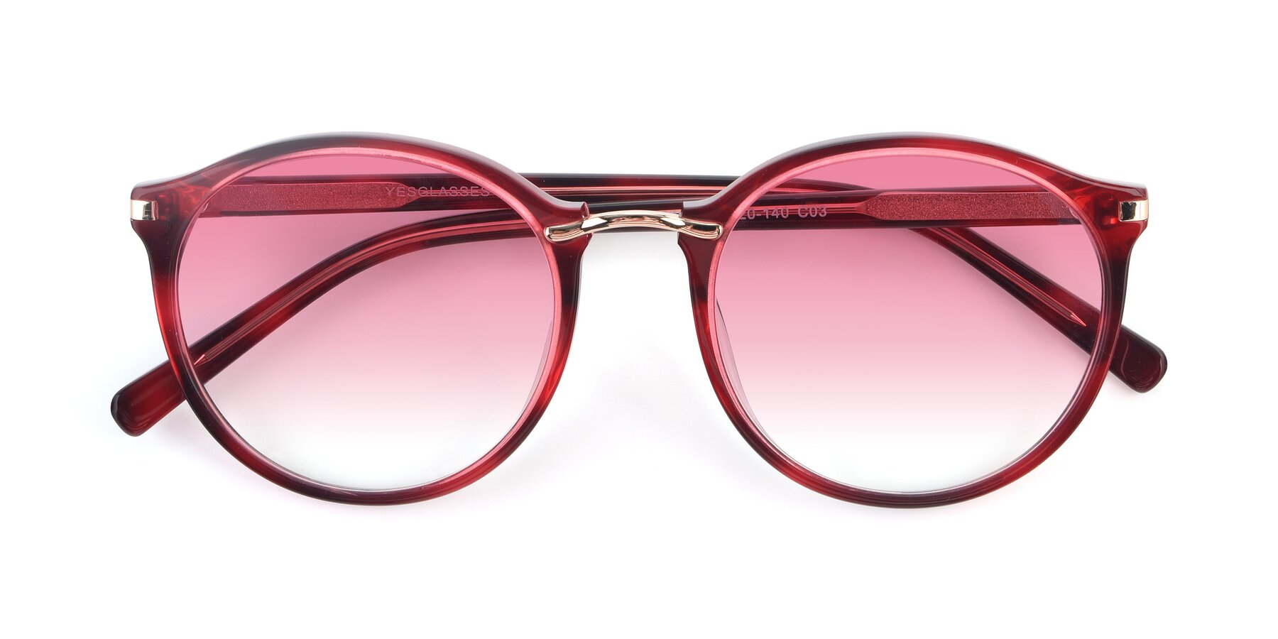 Folded Front of 17582 in Wine with Pink Gradient Lenses