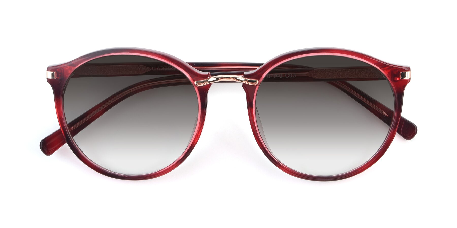 Folded Front of 17582 in Wine with Gray Gradient Lenses