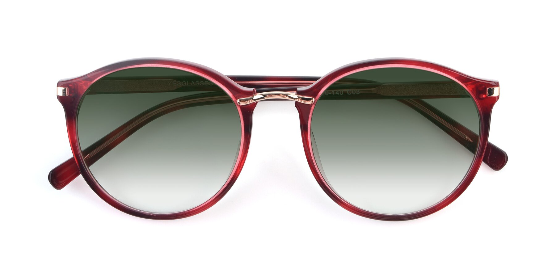 Folded Front of 17582 in Wine with Green Gradient Lenses