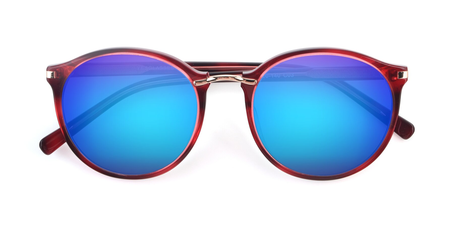 Folded Front of Casper in Wine with Blue Mirrored Lenses
