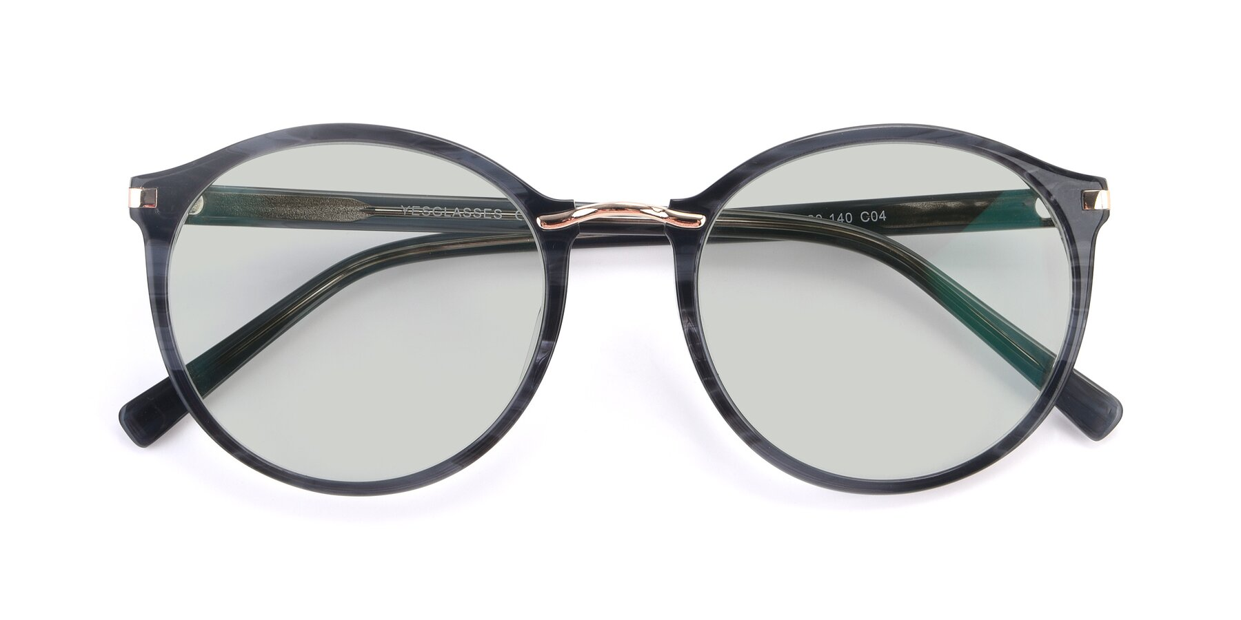 Folded Front of 17582 in Translucent Black with Light Green Tinted Lenses