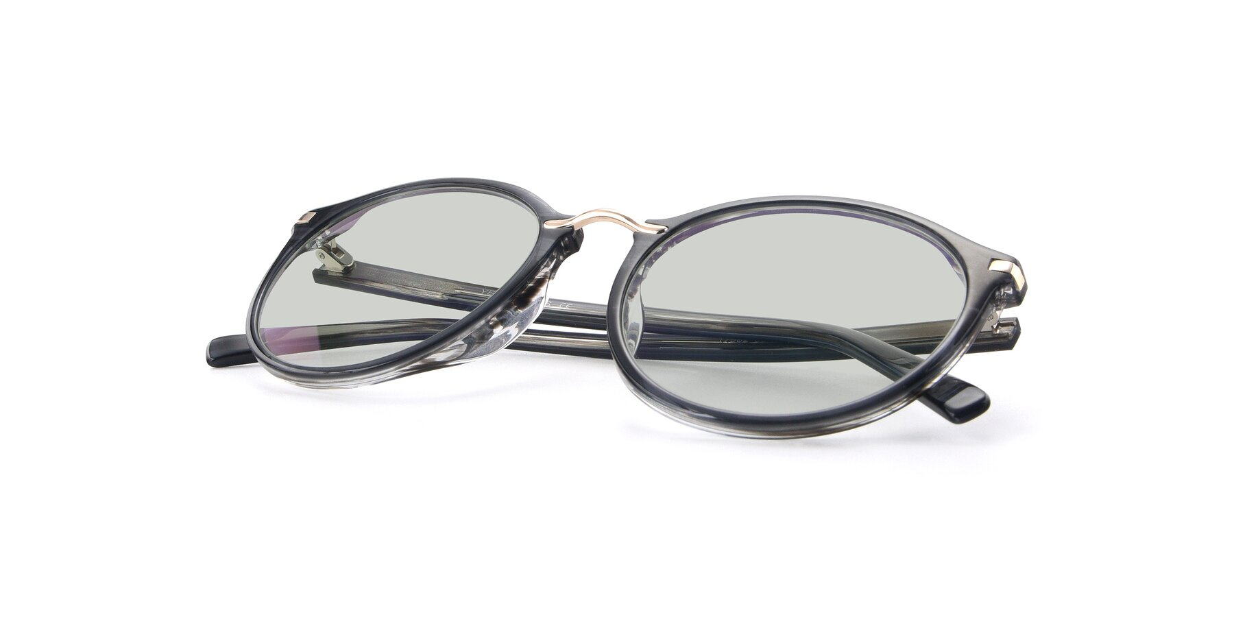 View of 17582 in Translucent Black with Light Green Tinted Lenses