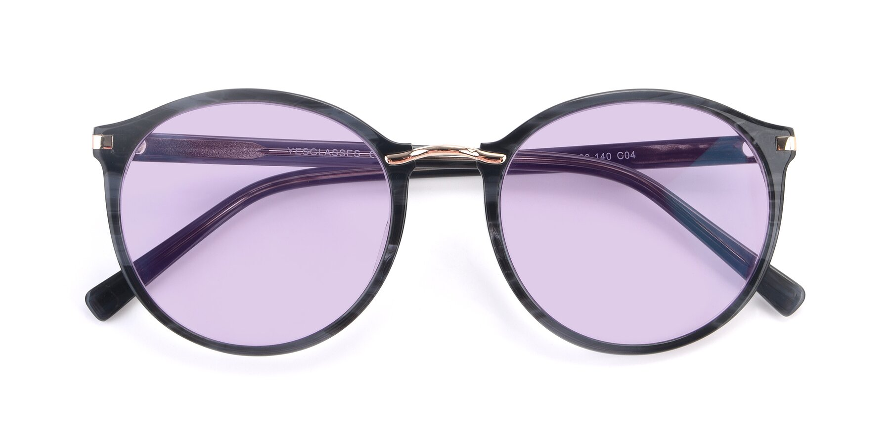 Folded Front of 17582 in Translucent Black with Light Purple Tinted Lenses