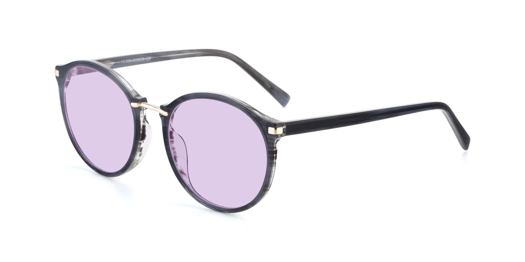 Angle of 17582 in Translucent Black with Light Purple Tinted Lenses