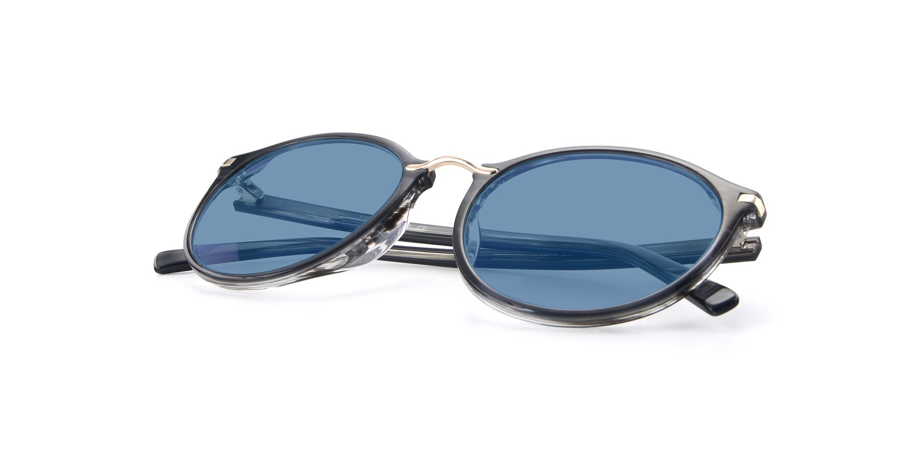 View of 17582 in Translucent Black with Medium Blue Tinted Lenses