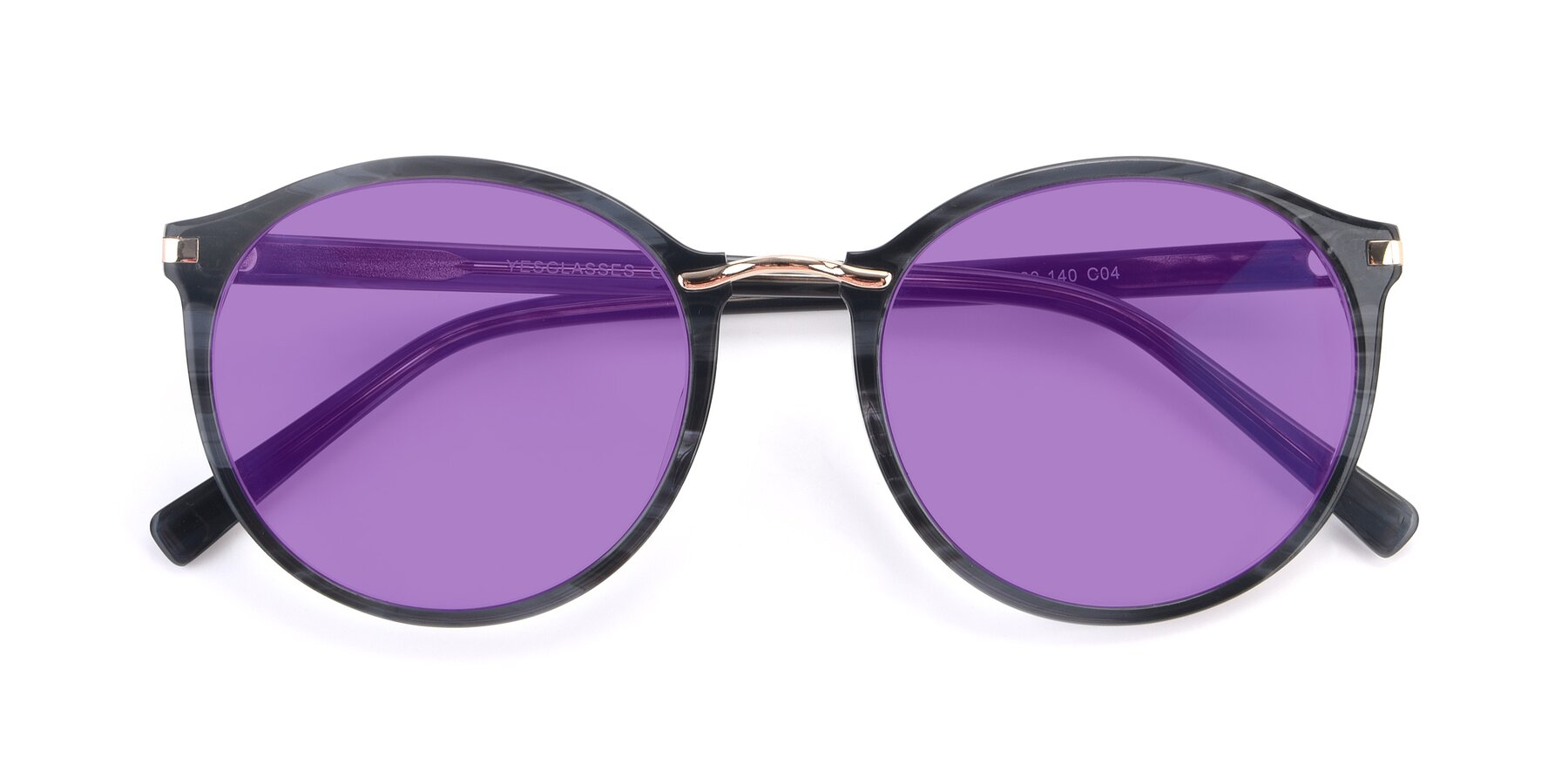 Folded Front of 17582 in Translucent Black with Medium Purple Tinted Lenses