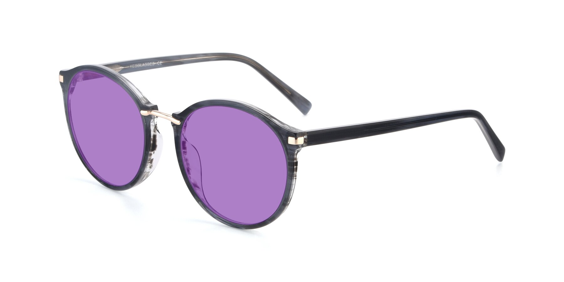 Angle of 17582 in Translucent Black with Medium Purple Tinted Lenses