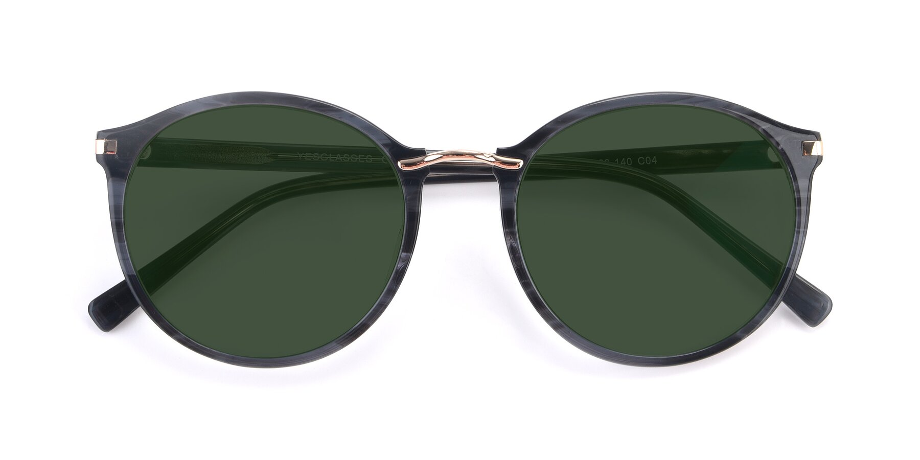 Folded Front of 17582 in Translucent Black with Green Tinted Lenses